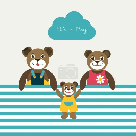 New born baby paper card. Modern color flat design. Vector background illustration.Happy teddy bear family concept.