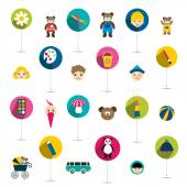 Collection of children flat icon toys Vector isolated