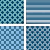 Set of four simply flat geometric patterns Seamless blue background