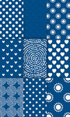 Set of nine simply flat geometric patterns Blue background