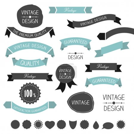 Illustration for Set of simply flat vintage ribbons. Vector. - Royalty Free Image