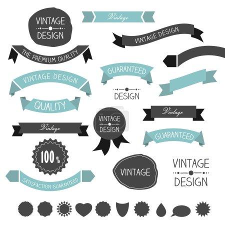 Set of simply flat vintage ribbons. Vector.