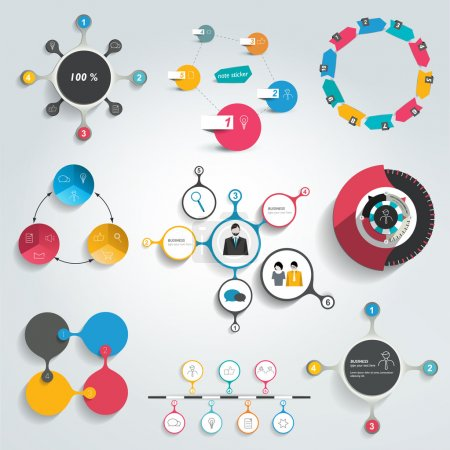 Illustration for Collection of colorful round info graphics diagrams. Circle schemes. - Royalty Free Image