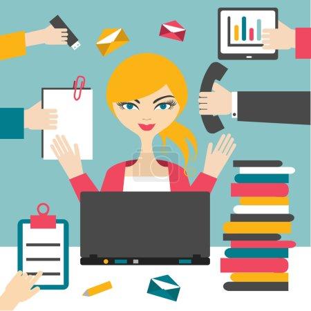 Illustration pour Une secrétaire qui travaille dur. Femme d'affaires occupée . - image libre de droit