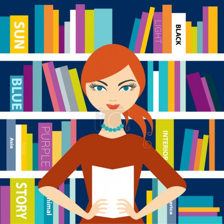 Bookstores saleswoman holding a book. Flat vector.
