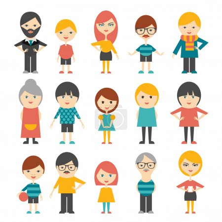 Illustration for Set of flat people. Vector. - Royalty Free Image