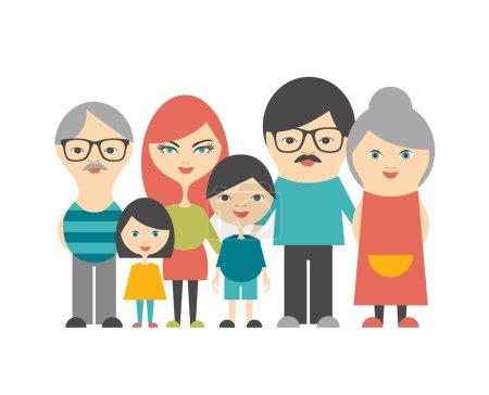 Multi generation family. Parents, children and grandparents. Flat design.