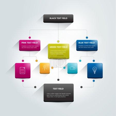 Illustration pour Organigramme infographique. Schéma d'ombres colorées. - image libre de droit