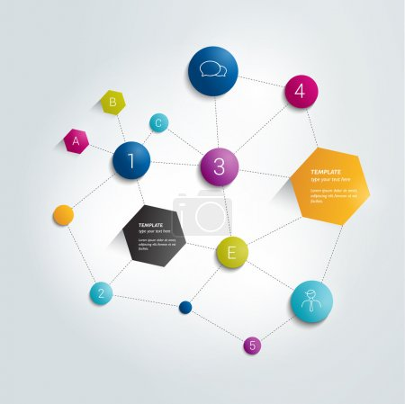 Illustration for Networt circle flow chart. Infographics flowchart. - Royalty Free Image