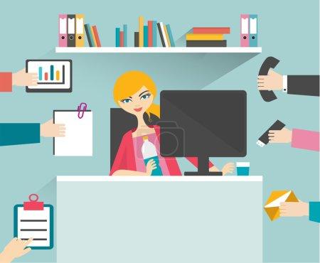 Illustration pour Secrétaire occupé femme gérer son travail avec sourire et se détendre . - image libre de droit