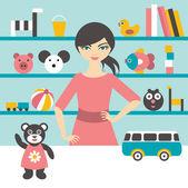 Hračky obchody prodeje žena. Plochý design