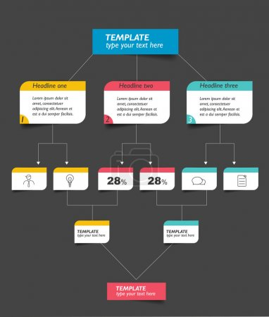 Infographics flowchart. Colored shadows scheme. Isolated on black.