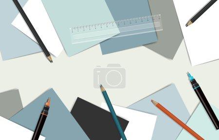 Illustration pour Lieu de travail technique. Vue du dessus du bureau entouré de papiers, crêpes et stylos techniques . - image libre de droit