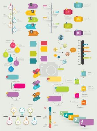 Illustration pour Grande collection de modèle de la chronologie. Infographie vectorielle. - image libre de droit