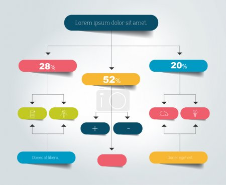 Illustration for Infographics flowchart. Colored shadows scheme. - Royalty Free Image