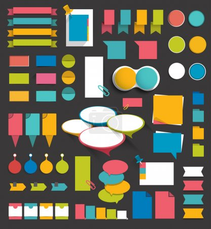 Collection of flat colorful paper stickers, folders, post it, bubbles set without text. Graphic elements.
