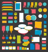 Collection of flat colorful paper stickers folders post it bubbles set without text Graphic elements