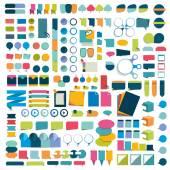 Mega set infographics flat design elements schemes charts buttons speech bubbles stickers Vector illustration