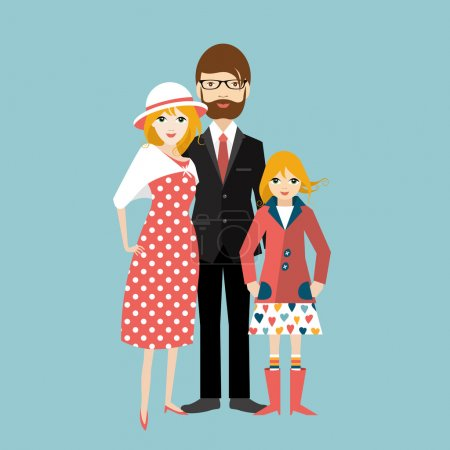 Family with little daughter. Man and woman in love, relationship. Flat vector.