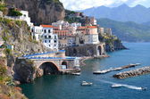 Scenic view of village atrani on amalfi coast in italy