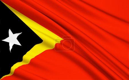 Photo pour Drapeau de la démocratique République du Timor-Leste - à minuit le 19 mai 2002 et durant les premiers instants du jour de l'indépendance, 20 mai, le drapeau des Nations Unies a été abaissé et a hissé le drapeau d'un Timor oriental indépendant - image libre de droit