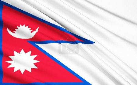 Foto de The national flag of Nepal is the worlds only non-quadrilateral national flag. Until 1962, the flags emblems, the sun and the crescent moon, had human faces. They were removed to modernize the flag. - Imagen libre de derechos