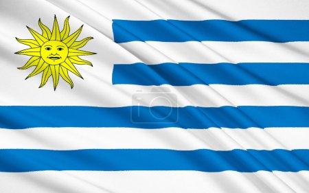Photo pour Le drapeau national de la République orientale de l'Uruguay, Montevideo - image libre de droit
