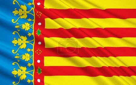 The flag of the Valencian Community, Spain
