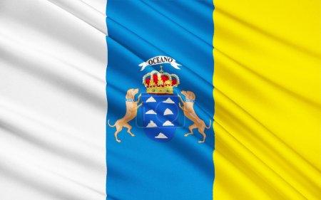 Photo pour Drapeau des îles Canaries sont un archipel espagnol est une communauté autonome. Il comprend Tenerife, Fuerteventura, Gran Canaria, Lanzarote, La Palma, La Gomera et El Hierro. - image libre de droit