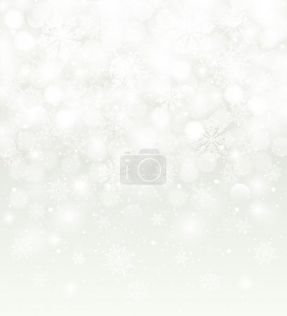 Winter background  blurred, white, with snowfall and copy space, for christmas card