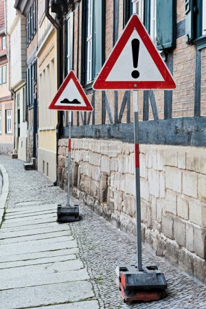Traffic signs in the Old Town of Quedlinburg...