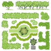 Fák és bush elem felső Nézd a táj design, vektor, ikon