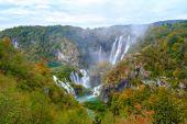 Waterfall the Plitvice Lakes in autumn