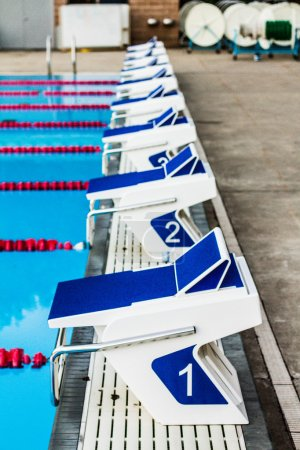 Photo for Olympic 50m Outdoor Pool Starting Blocks - Royalty Free Image