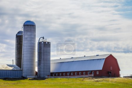 Traditional Red Farm and Silos