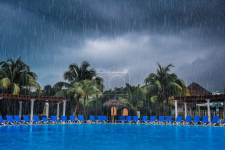 Bad Weather During Vacation at the Pool