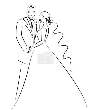 Just married couple cartoon vector