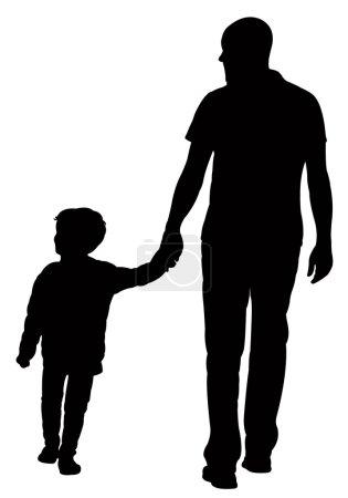Illustration pour Marche père et fils, vecteur silhouette - image libre de droit