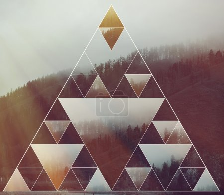 Collage with the landscape and the sacred geometry symbol triangle