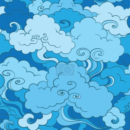 Traditional asian seamless pattern with clouds