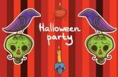 halloween vector background template with raven pumpkin skull