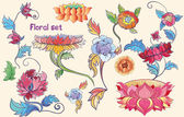 Flowers vector set with lotuses and peonies asian theme