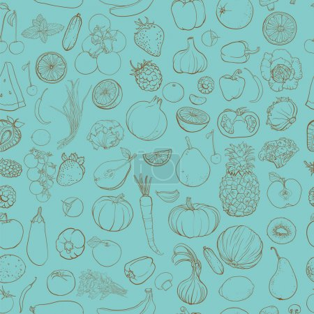 Illustration for Seamless vector pattern with contour drawing of vegetables, fruit, berries. Background with food ingredients. eps 10 - Royalty Free Image