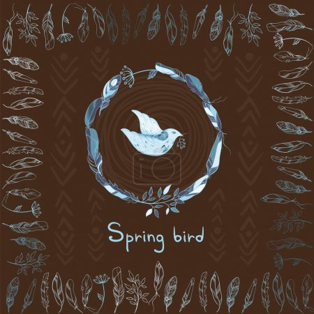 Illustration for Vector background with spring bird with sprig and round and square frame made of feathers. Blue and brown color. Template for design. eps 10 - Royalty Free Image