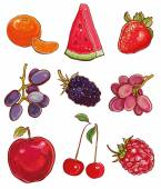 Vector set with fruits and berries: red purple and orange