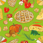 Seamless pattern with vegetables cheese and pies