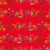Bright template for design Set of red fruits and vegetables on light red seamless vector pattern Seamless background eps 10