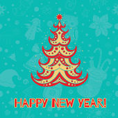 Vector Christmas card with tree and ornaments Xmas New Year card