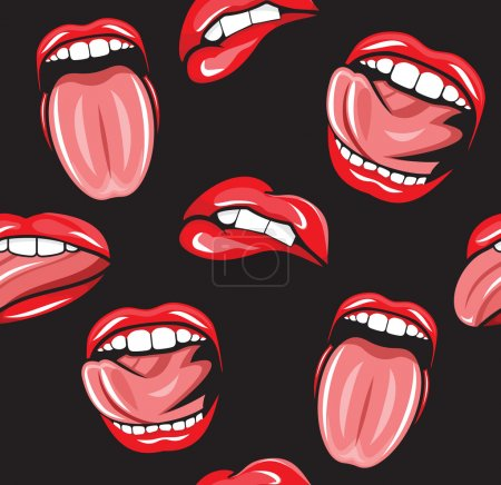 Illustration for Mouth pop art vector seamless pattern - Royalty Free Image
