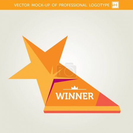 Vector Golden Award Sign Drawing In Flat Style